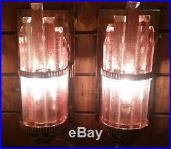 Pair Skyscraper Art Deco Metro Light Wall Sconces Copper Cameo Glass Ship Lamp
