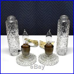 Pair Vintage Art Deco Bullet Boudoir Lamps 1930s Glass in Working Condition