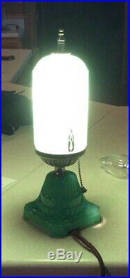 Pair Vintage Art Deco Green Glass Bullet Skyscraper Boudoir Lamps