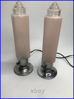 Pair Vintage Art Deco Pink Frosted Glass Bullet Torpedo Skyscraper Boudoir Lamps