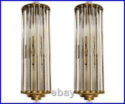 Pair Vintage Art Deco Skyscraper Brass & Glass Rod Ship Light Wall Sconces Lamp