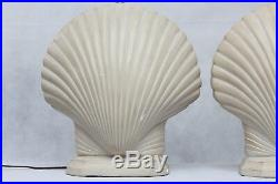 Pair Vintage S & M Ind 1981 Chalkware Clam Shell Table Lamps Art Deco Beach Hote