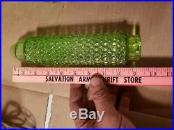 Pair Vtg Art Deco Green Boudoir Lamp SHADES Skyscraper Torpedo Bullet Glass Desk