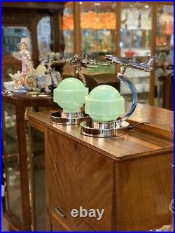 Pair of Aeronautique Lamps with Original Art Deco Jade Green Glass Shades