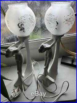 Pair of Vintage Art Deco Style Table Lamps & Shades