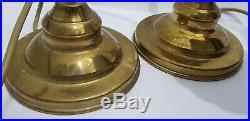 Pair of Vintage Brass Gooseneck Desk Table Lamp Clam Shell Shade Art Deco