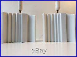 Pair of Vtg Danish Architectural Skyscraper Porcelain table lamps Art Deco Style