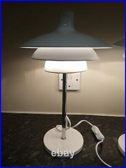 Pair white metal and chrome retro lamps, space age style, art deco, scandi style