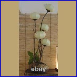Paper Ball Art Deco White Shade Lantern Asian Table Floor Brown Touch Lamp Light