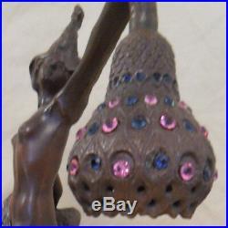 Peacock Nude Lady Spelter Lamp Art Deco Nouveau Signed Bronze