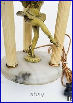 Period Art Deco Lamp Cold Painted Figural Ballerina Alabaster Lorenzl Manner