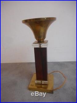 Pied De Lampe Art Deco Bois Bronze Et Verre