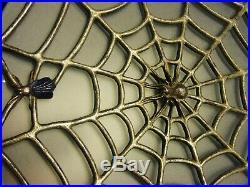 Pr Antique/Vintage Art Deco Fly & Spider Web Electric Wall Sconces Lamps Lights