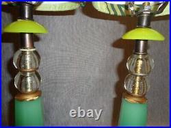Prairie School Vintage Jadeite Glass Art Deco Lamps