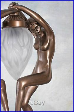 Puristische Art Deco Lampe nackte Tänzerinnen erotisch Tischlampe vintage Stil