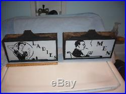 RARE Art Deco Ladies and men Restroom Signs lighted strand theater