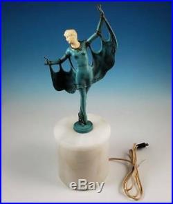RARE Gerda Gerdago Art Deco Winged Dancer Lamp Alabaster Base Harlequin Pixie