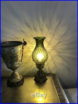 RETRO Lamp Loevsky & Loevsky WMC Art Deco Green Mid Century Glass Brass RARE