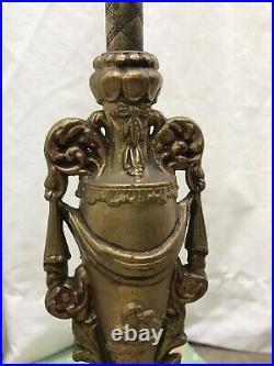 REWIRED Antique Vtg Art Nouveau Deco Victorian Floor Lamp Ornate Brass, 2 Socket