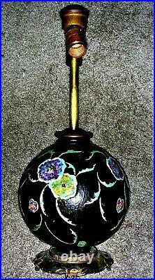 ROSEVILLE ART DECO POTTERY FLORAL BLACK BALL factory lamp dav art all original