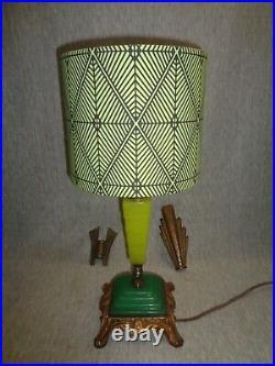 Ramses the Great 1925 Egyptian Revivalist Art Deco Lamp Jadeite Art Glass