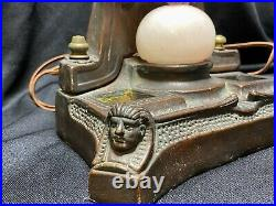 Rare 1910s Art Deco Egyptian Motif Lady Lamp Kathodian Bronze Works