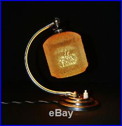 Rare 1930s Art Deco swan neck Chrome plated table Lamp geometric handmade shade