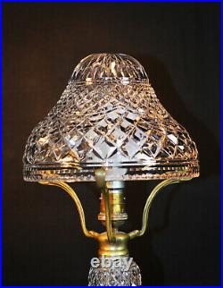 Rare 1940s art deco fine cut glass prismatic crystal toad stool-shape table lamp