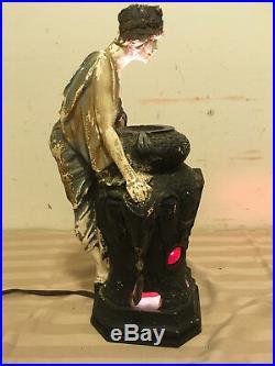 Rare Antique 1926 Art Deco Chalkware Fortune Teller Lamp Rebecca At The Well