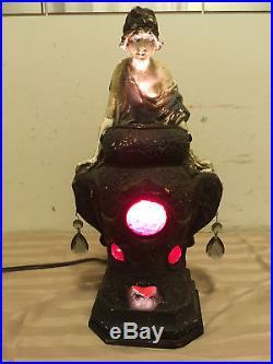 Rare Antique 1926 Art Deco Chalkware Fortune Teller Mystical Lamp Incense Burner