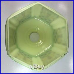 Rare Antique Art Deco Custard Vaseline Glass Shade Polychrome Decal Pendant Lamp