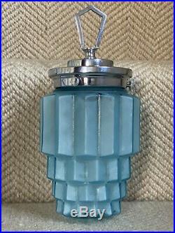 Rare Antique Art Deco Skyscaper Blue Glass Pendant Porch Light Table Lamp Shade