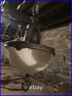 Rare Antique Art deco, Art Nouveau 1920s Pendant, Schoolhouse chandelier lamp