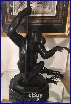 Rare Antique French Art Deco Bronze Monkey Lamp by Max Le Verrier