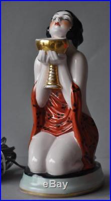 Rare Art Deco Antique Porcelain Figurine Figure Perfume Lamp Germany