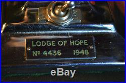 Rare Art Deco Chrome Lamp Stone Masons Lodge of Hope 4436 Birmingham 1948