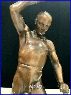 Rare Art Deco Masculine Nude Bronze Male Figure Lamp On Marble Base