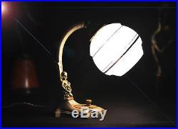 Rare Austrian Art Deco Lamp Cherub and Cornucopia Twist Switch & Gimbal Function