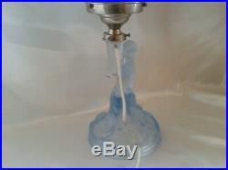 Rare Exquisite Art Deco Walther Sohne Blue Satin Glass Rotterdam Lamp Rewired