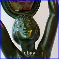 Rare FAYRAL Art Deco Sculpture with Daum Nancy Glass Vessel Lamp-1930s Era