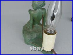 Rare Frankart Nuart or Art Deco Lady in the Waves Nude Nymph Lamp As Found