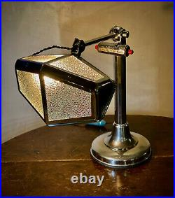 Rare Pirouette Art Deco Industrial Desk Lamp with Calendar, 1920-30s GIFT READY