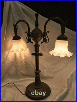 Rare Unusual Antique Vtg Brass Table Lamp Art Deco 2 Arm Desk Student 22x16