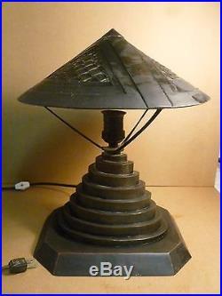 Rare Unusual Architectural Machine Age Art Deco Copper Lamp Bauhaus