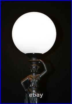 Rare Vintage 1940s bronze figural lamp art deco Opaline milk glass globe shade