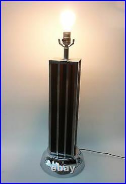 Rare! Vintage Art Deco Chrome Skyscraper Table Lamp