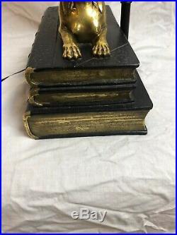 Rare Vintage Chapman Brass Egyptian Sphinx Light Lamp Desk Books Art Deco