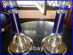 Rhapsody in Blue 1930 Art Deco Machine Age Cobalt Blue Lamps
