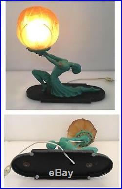 Ronson Egyptian Moon Art Deco Figural Lamp Turquoise Original Globe 1930's