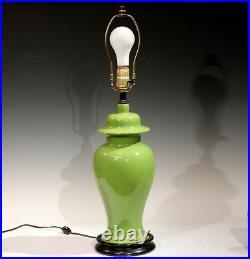 Royal Haeger Hickman Green Crackle Glaze Art Deco Pottery Vase Lamp Vintage